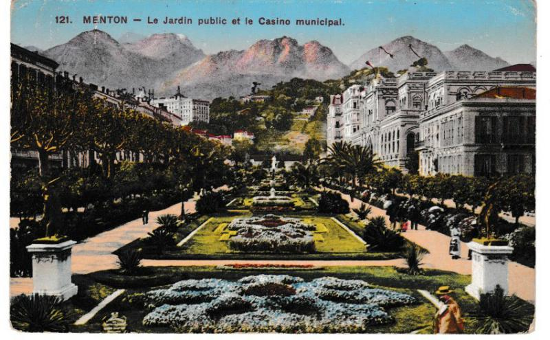 Post Card France MENTON (121) Le Jardin public et le Casino municipal 1914