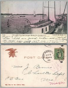 LONG ISLAND SAG HARBOR THE BAY FROM LONG WHARF 1909 UNDIVIDED VINTAGE POSTCARD