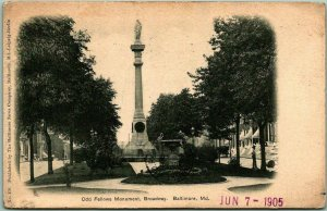 Baltimore, Maryland Postcard Odd Fellows Monument, Broadway w/ 1905 Cancel