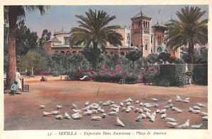 Spain Old Vintage Antique Post Card Exposicion Ibero Americana Plaza de Ameri...