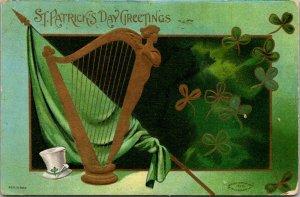 St Patricks Day dresden gold harp shamrocks c1910  Vintage postcard