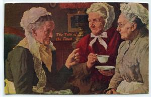 The Talk of the Town Old Women Gossip Humor 1910c postcard