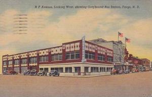 N P Avenue, Looking West, Greyhound Bus Station, Western Union Bank, Fargo, N...