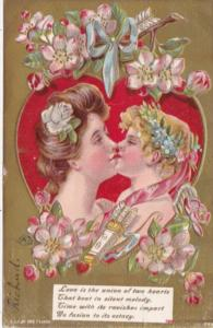 Valentine's Day Couple Kissing On Red Heart 1910