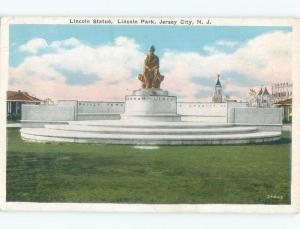 W-Border ABRAHAM LINCOLN STATUE AT PARK Jersey City New Jersey NJ c8998