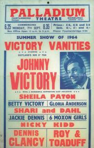 Johnny Victory Live at Edinburgh Palladium Theatre Poster Postcard