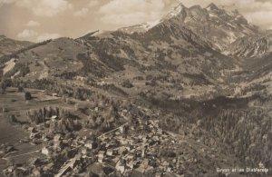 Gryon et les Diablerets Switzerland Aerial Real Photo Postcard