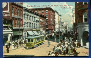 Norfolk Virginia va Granby Street view Trolleys looking north postcard
