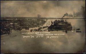 mexico TAMPICO Muelle Golfo Alijadores TORNADO 1933 RP
