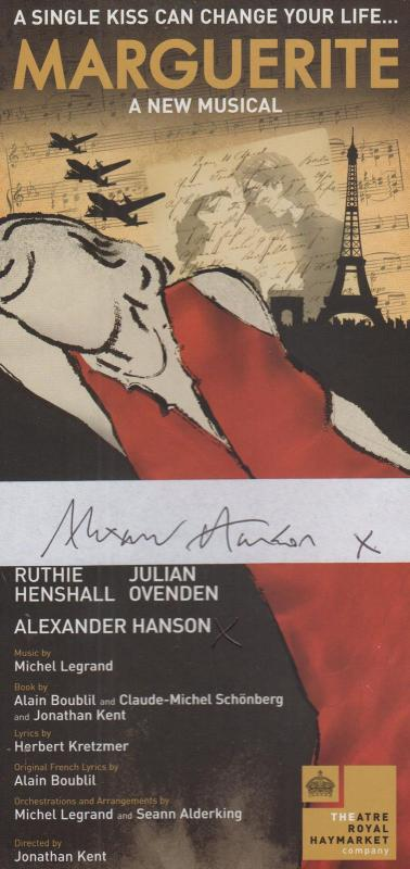 Marguerite Musical Alexander Hanson of The Sound Music Hand Signed Theatre Flyer