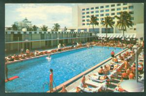 Beautiful Di Lido Hotel Swimming Pool and Cabana Club MIAMI FLORIDA FL Postcard