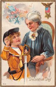 Decoration Day Memorial Day Greetings Woman and Boy Antique Postcard J80565