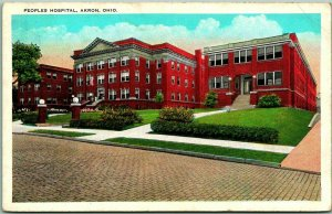 Akron, Ohio Postcard PEOPLES HOSPITAL Building / Street View Tichnor c1920s