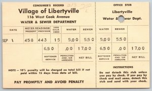Village of Libertyville IL~Water & Sewer Meter Reading~E S Campbell~Postal c1951