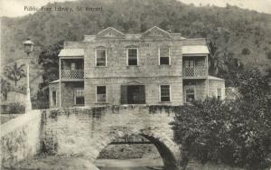 St. Vincent, W.I., Public Free Library (1910s) Postcard