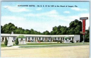 JASPER, Florida FL   Roadside SUWANNEE MOTEL  Hamilton County 1953  Postcard