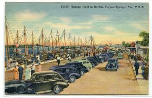 Sponge Fishing Fleet Boats Cars Tarpon Springs Harbor Florida 1940 postcard