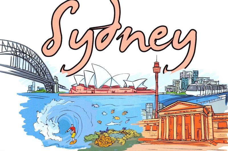 Art Postcard Landmarks of Sydney, Australia B17
