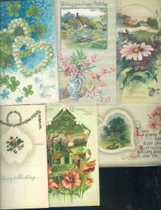 pc6840 postcard Birthday Greetings SIX 5 used 1 not used