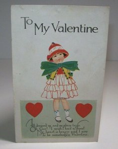 To My Valentine Postcard Greetings Vintage Series V 34 Dressed Up Little Girl