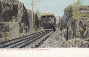 Rock Cut, Train thru Mt. Tom, HOLYOKE, Massachusetts, Pre 1907
