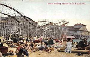 Vencie, California, CA, USA Postcard Scenic Railway and Beach Writing on back