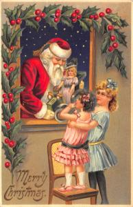 1908 Merry Christmas Red Suited Santa Claus Showing Girls a Doll Postcard