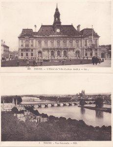 Tours Hotel De Ville Ponti Bridge Aerial 2x French Old Postcard s