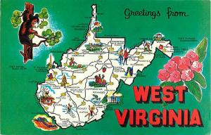 Green Greetings from West Virginia WV Map Card