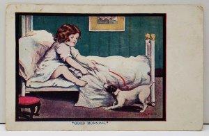 Good Morning Dorthy Dixon Dog Pulls Blanket off Bed Quincy Pa Postcard D15
