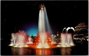 1964 NEW YORK WORLD'S FAIR Expo Postcard THE SOLAR FOUNTAIN Night View Chrome