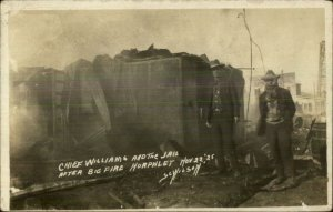 Norphlet AR Police Chief Williams & Jail 1925 Fire Real Photo Postcard xst