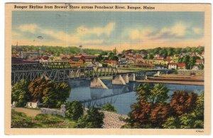 Bangor, Maine, Bangor Skyline from Brewer Shore across Penobscot River
