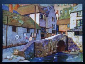 Cornwall POLPERRO The Roman Bridge c1930's Anne Croft Postcard by Vivian Mansell