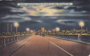 Viaduct Approaching From The North At Night Savannah Georgia 1940