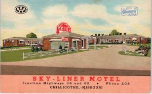 CHILLICOTHE, MO Missouri    SKY-MOTEL    c1950s   Roadside   Linen  Postcard