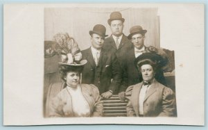Real Photo Postcard~Two Victorian Ladies in Enormous Picture Hats~3 Gents~c1910