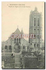 Old Postcard Beaumont sur Oise Facade of the Church and the Grand Staircase