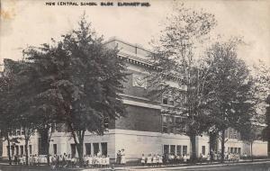 Elklhart Indiana~New Central School~Teachers & Kids Outside~J Inbody 1912 RPPC