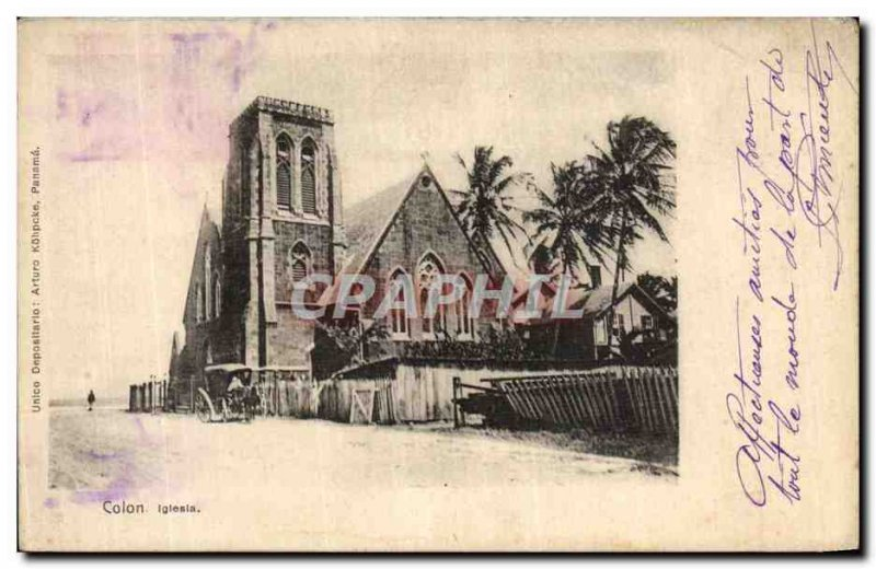 Postcard Old Panama Colon Iglesia