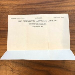 WESTMINSTER , MD - THE DEMOCRATIC ADVOCATE COMPANY LETTERHEAD - VINTAGE PAPER