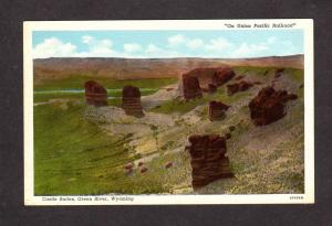 WY Castle Buttes, Green River Wyoming Postcard, On Union Pacific Railroad