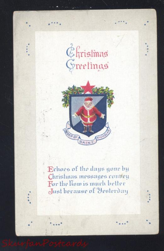 CHRISTMAS GREETINGS SANTA CLAUS RED ROBE ANTIQUE VINTAGE