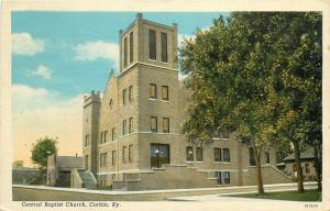 Vintage Linen Postcard Central Baptist Church Corbin KY Whitley County Posted