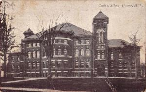 Owoso Michigan~Central School Building~People & Bicycles in Front~1911 Postcard