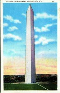 Washington Monument, Washington, D.C. sunset or sunrise linen postcard