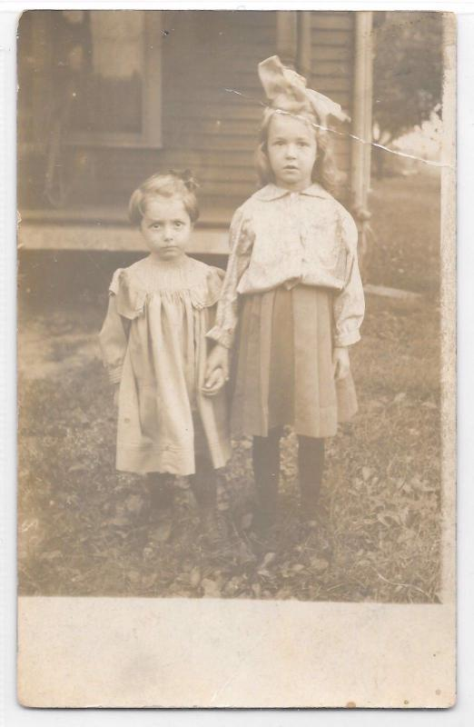 Antique RPPC Real Photo Postcard Two Cute Little Girls Holding Hands In Dresses