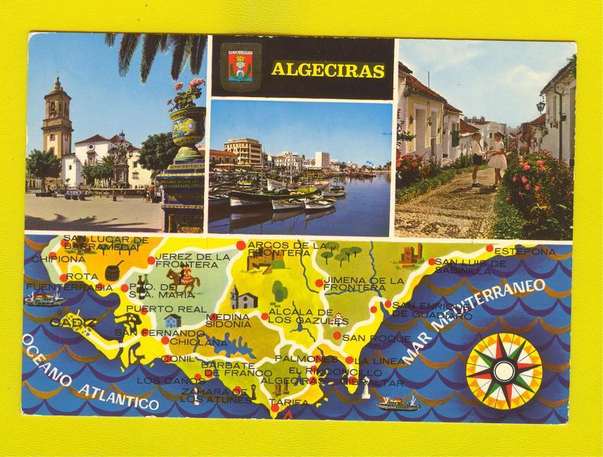 POSTCARD SPAIN ESPAÑA ESPAGNE ESPANA ALGECIRAS MAS MAP / HipPostcard