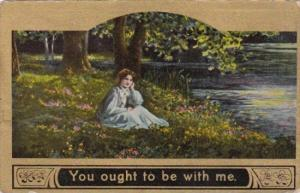 Beautiful Woman At Waters' Edge You Ought To Be With Me 1911
