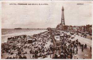 England Blackpool Central Promenade and Beach 1935 Real Photo